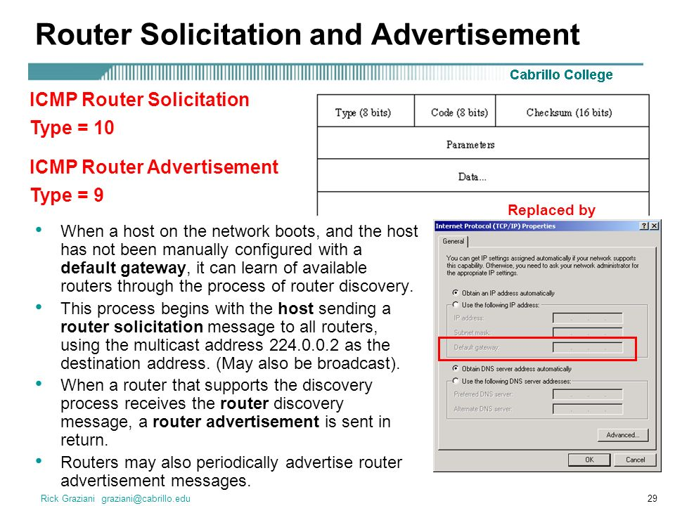 Rick Graziani graziani@cabrillo.edu29 Router Solicitation and Advertisement When a host on the network boots, and the host has not been manually configured with a default gateway, it can learn of available routers through the process of router discovery.
