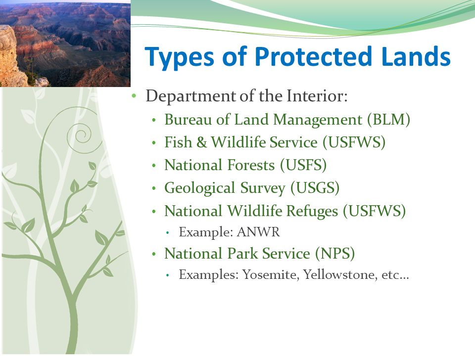 World land use types of protected lands department of the interior 3 types sciox Image collections