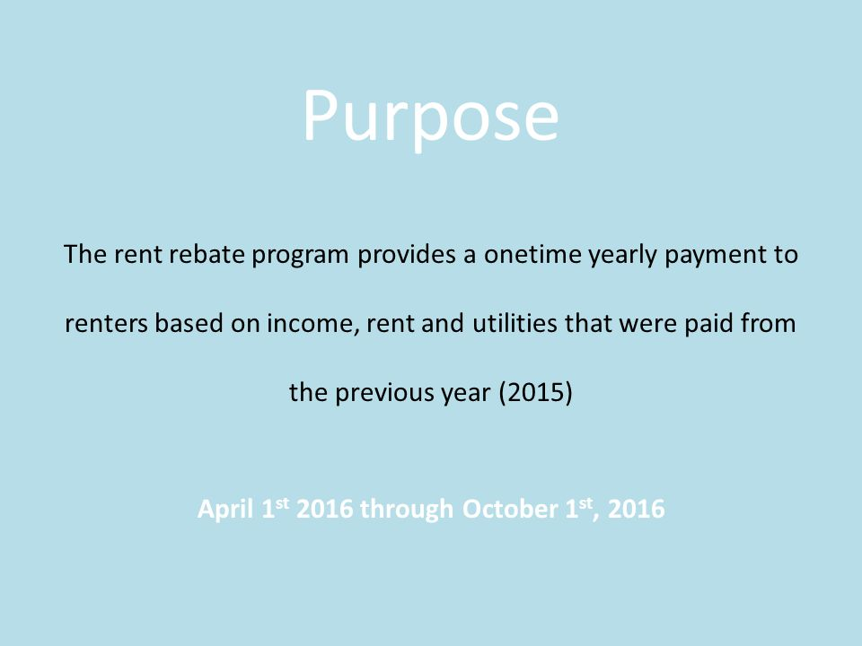 Renters Rebate Program State Of Connecticut Purpose The Rent Rebate