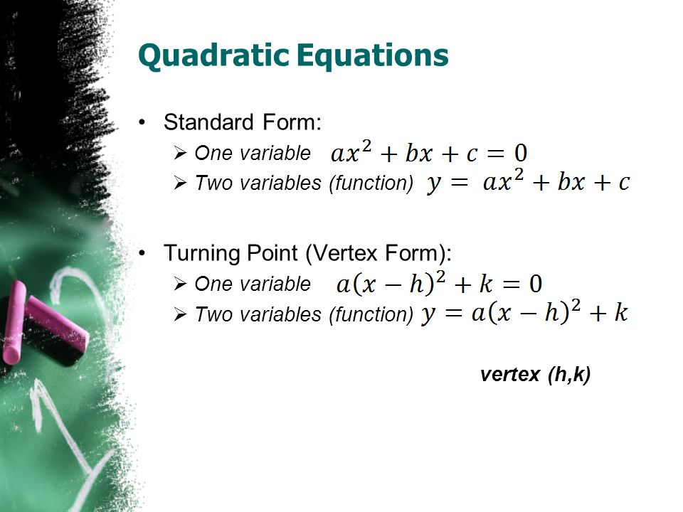 Quadratic Equations Standard Form:  One variable  Two variables (function) Turning Point (Vertex Form):  One variable  Two variables (function) vertex (h,k)