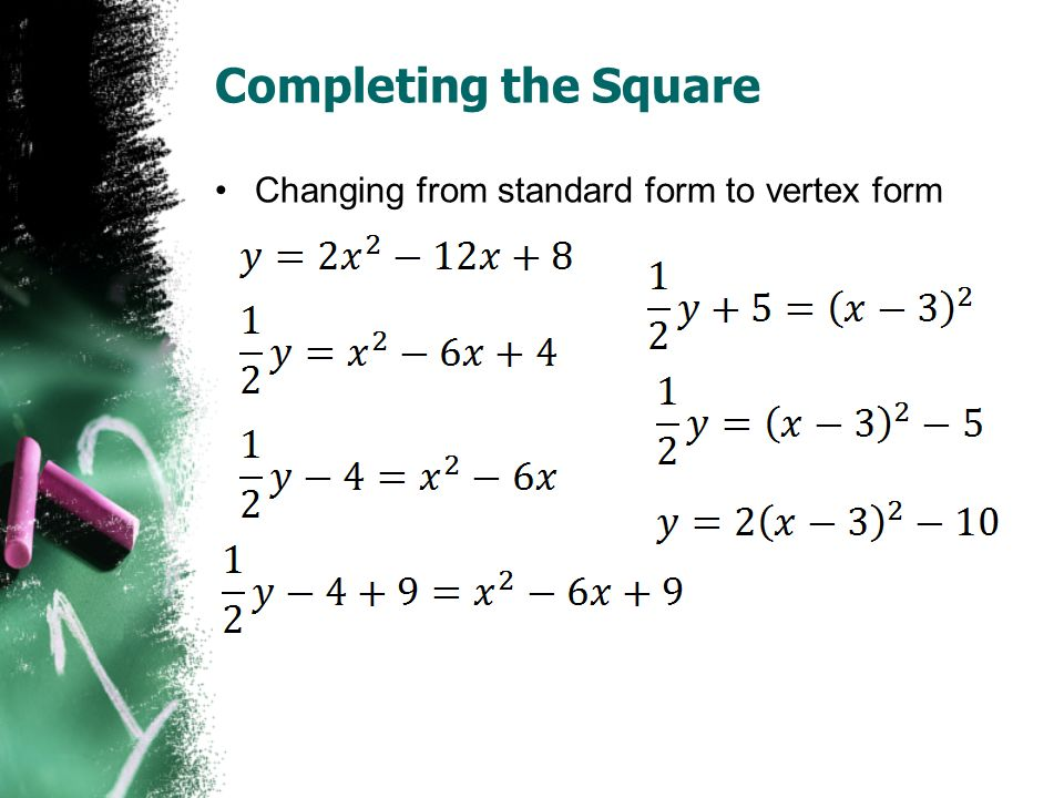 Completing the Square Changing from standard form to vertex form