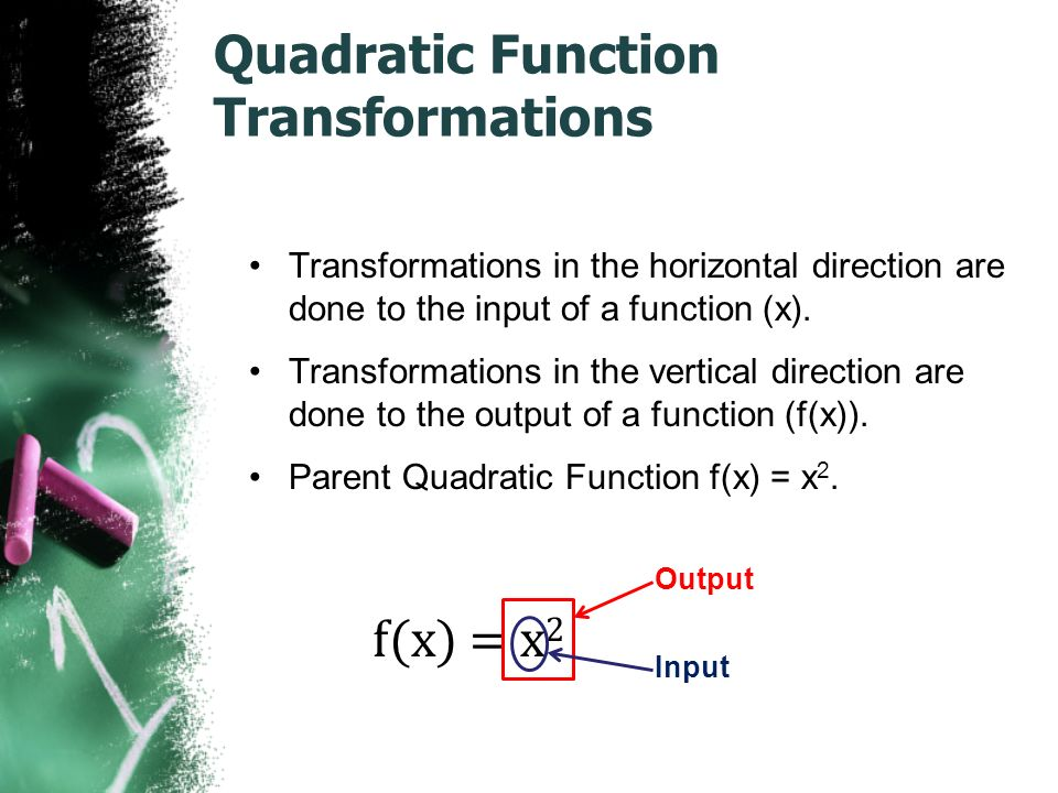 Quadratic Function Transformations Transformations in the horizontal direction are done to the input of a function (x).