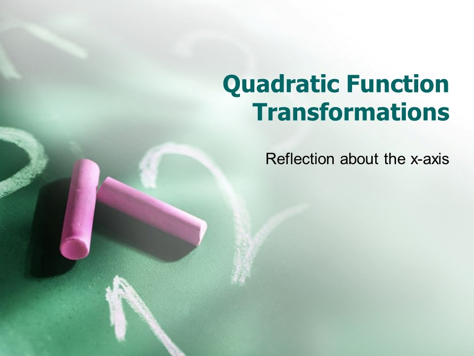 Quadratic Function Transformations Reflection about the x-axis