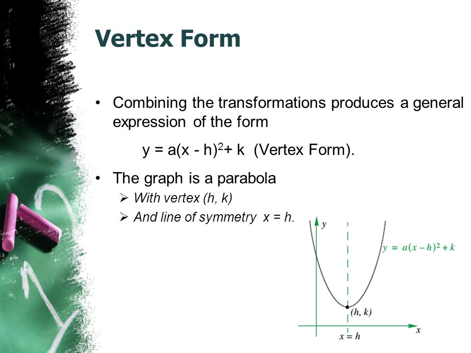 Vertex Form Combining the transformations produces a general expression of the form y = a(x - h) 2 + k (Vertex Form).