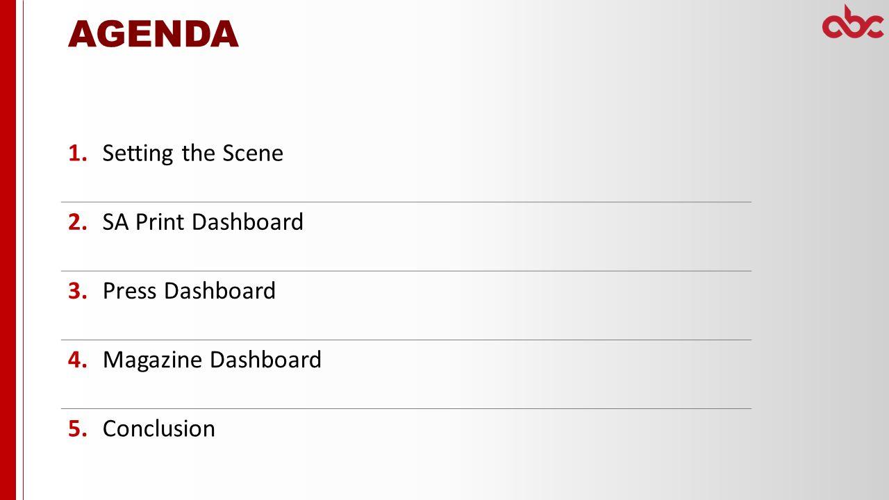 Setting the Scene 2.SA Print Dashboard 3.Press Dashboard 4.Magazine Dashboard 5.Conclusion