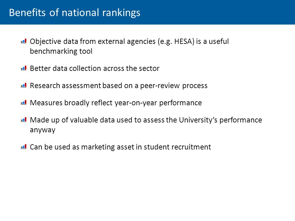 Benefits of national rankings Objective data from external agencies (e.g.