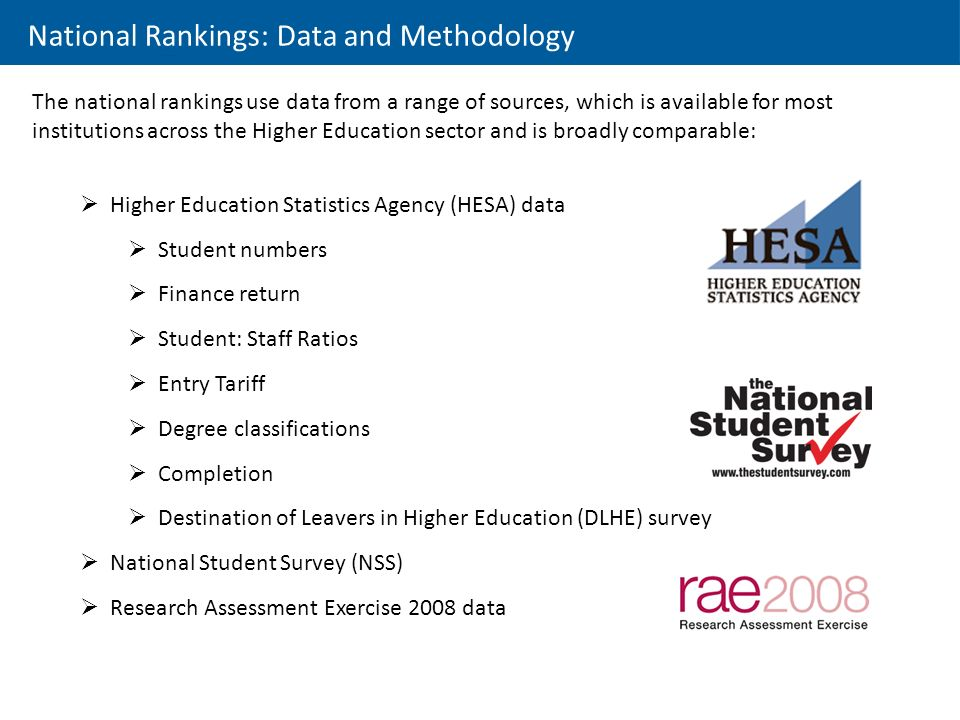 National Rankings: Data and Methodology The national rankings use data from a range of sources, which is available for most institutions across the Higher Education sector and is broadly comparable:  Higher Education Statistics Agency (HESA) data  Student numbers  Finance return  Student: Staff Ratios  Entry Tariff  Degree classifications  Completion  Destination of Leavers in Higher Education (DLHE) survey  National Student Survey (NSS)  Research Assessment Exercise 2008 data