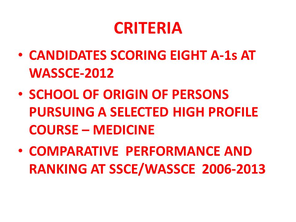 CRITERIA CANDIDATES SCORING EIGHT A-1s AT WASSCE-2012 SCHOOL OF ORIGIN OF PERSONS PURSUING A SELECTED HIGH PROFILE COURSE – MEDICINE COMPARATIVE PERFORMANCE AND RANKING AT SSCE/WASSCE 2006-2013