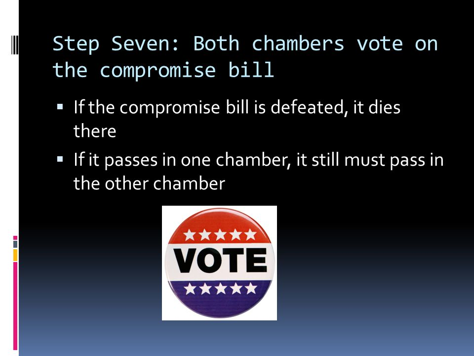 Step Seven: Both chambers vote on the compromise bill  If the compromise bill is defeated, it dies there  If it passes in one chamber, it still must pass in the other chamber