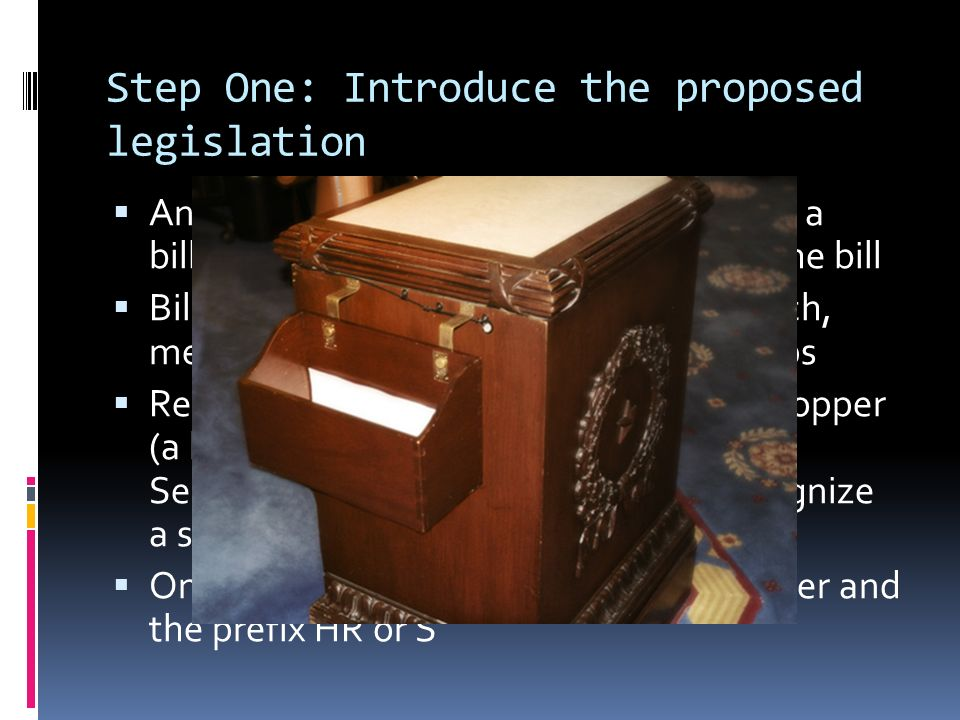 Step One: Introduce the proposed legislation  Any member of Congress can introduce a bill—he or she is called the sponsor of the bill  Bills can come from the executive branch, members of Congress, or interest groups  Representatives drop their bills in the hopper (a box on the House clerk's desk); in the Senate, the presiding officer must recognize a sponsor  Once recognized, a bill receives a number and the prefix HR or S