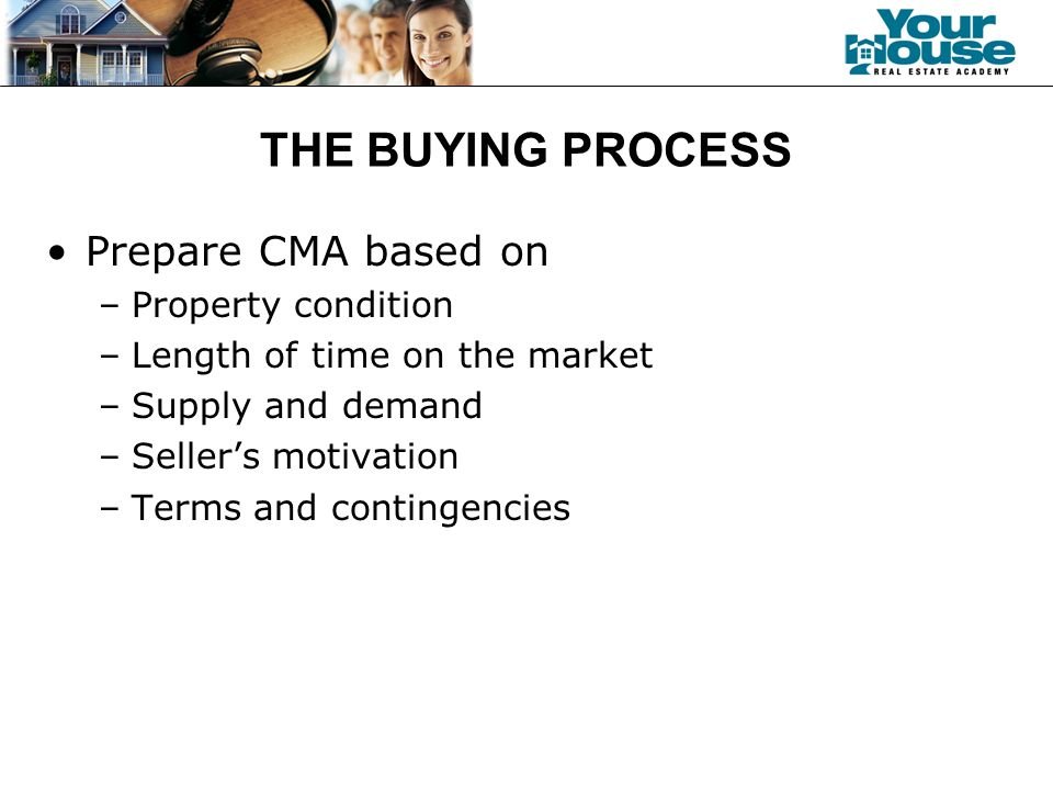 THE BUYING PROCESS Prepare CMA based on –Property condition –Length of time on the market –Supply and demand –Seller's motivation –Terms and contingencies