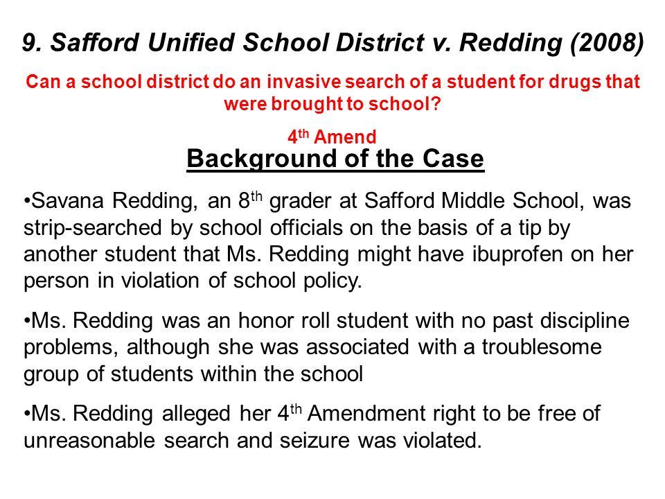 safford unified school district 1 v Home » » case briefs » constitutional law » safford unified school district v redding safford unified school district v redding posted on december 3.