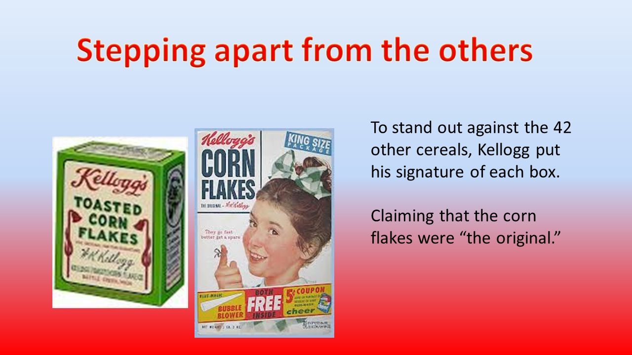 By samantha march jordin jones benjamin hartsuff robert bergeron to stand out against the 42 other cereals kellogg put his signature of each box biocorpaavc Image collections