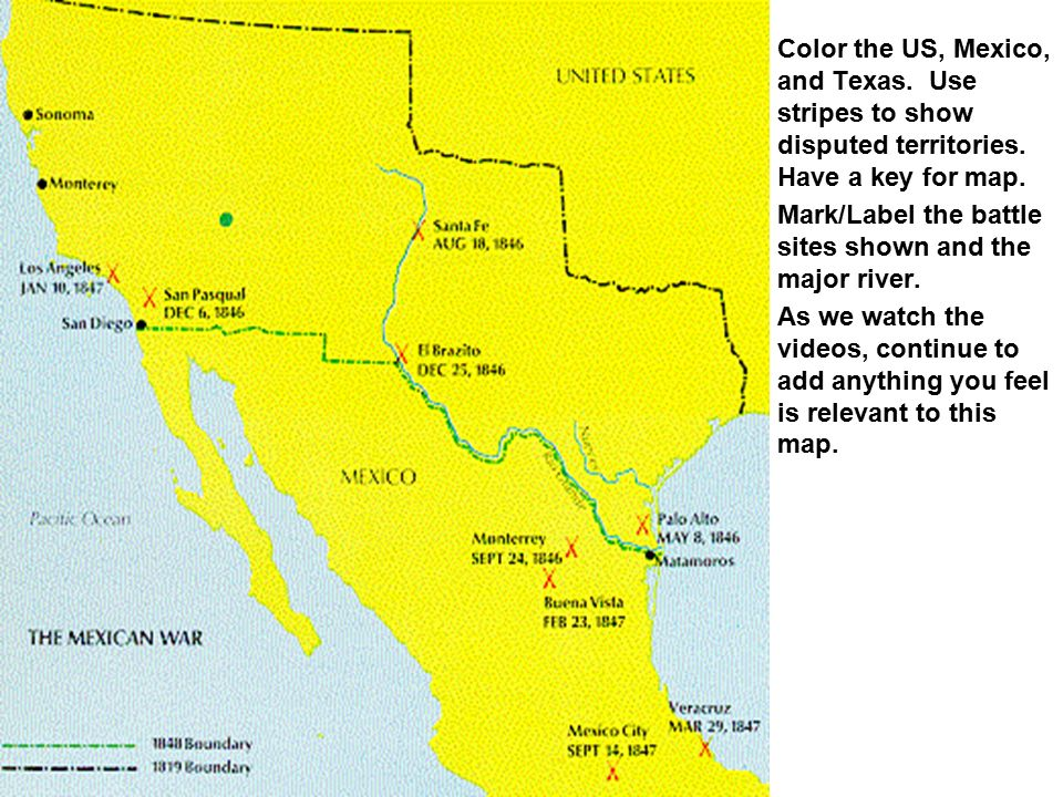 MEXICAN AMERICAN WAR WARS OF AMERICA The MexicanAmerican War Was - 1848 us map