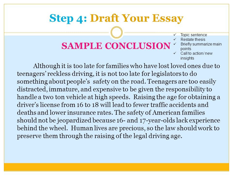 language arts writing sol how to writing prompts ppt  step 4 draft your essay sample conclusion although it is too late for families who