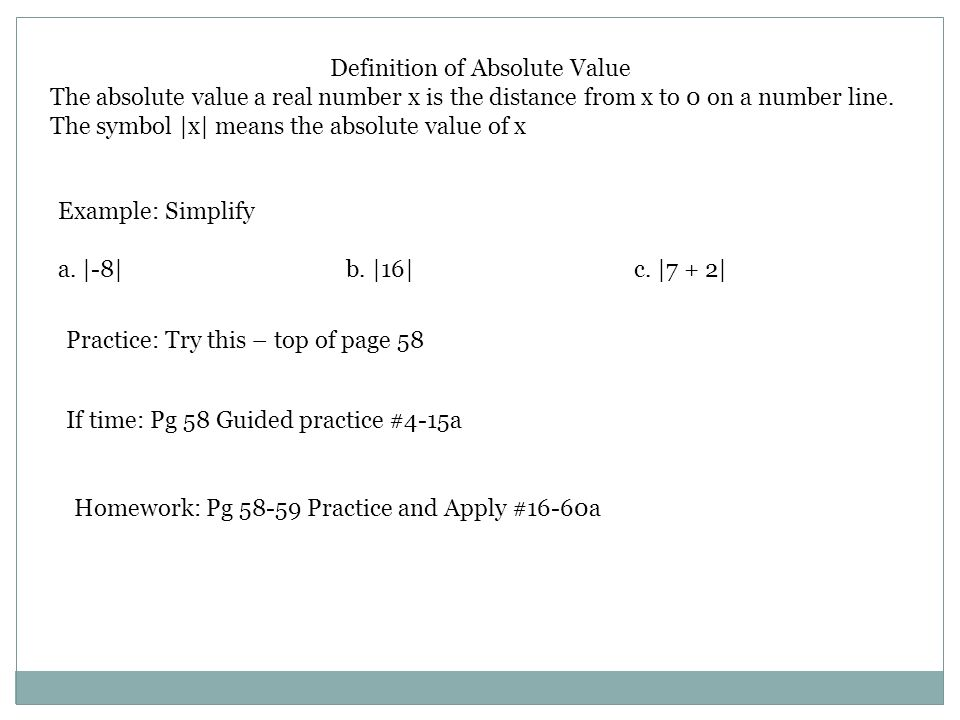 Section 21 The Real Numbers And Absolute Value Algebra I Ppt