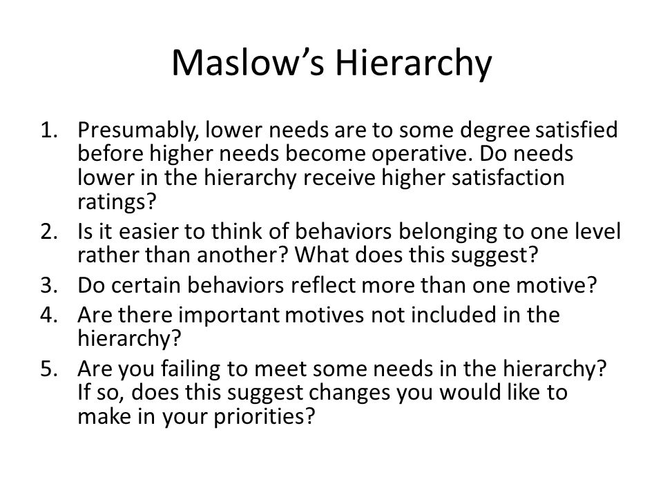 maslows hierarchy of needs 7 essay Maslows hierarchy of needs - essay example the author of this essay makes a deep description of maslow's hierarchy of needs and the relevance of his approach.
