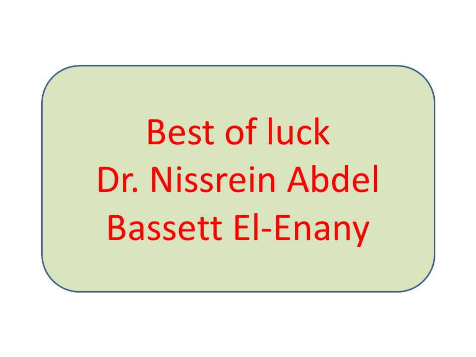 Best of luck Dr. Nissrein Abdel Bassett El-Enany