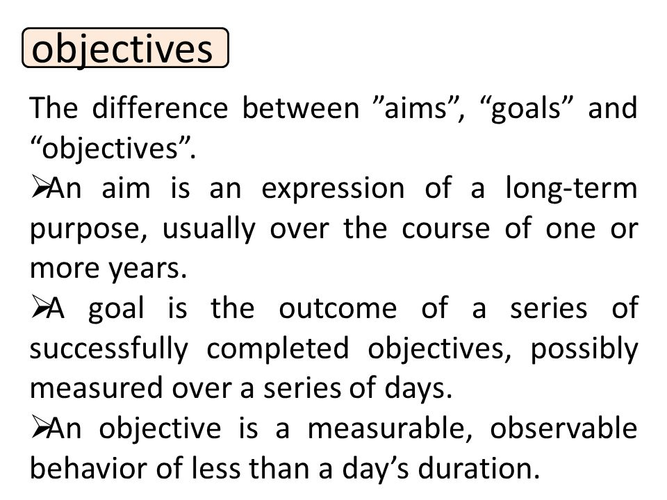 objectives The difference between aims , goals and objectives .