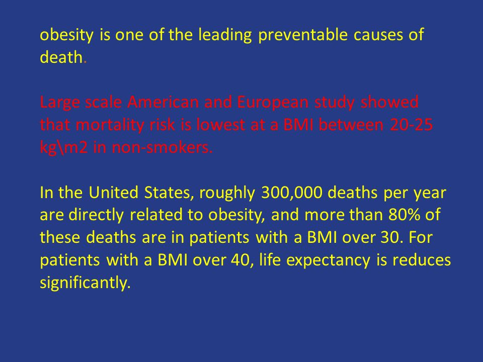 obesity is one of the leading preventable causes of death.