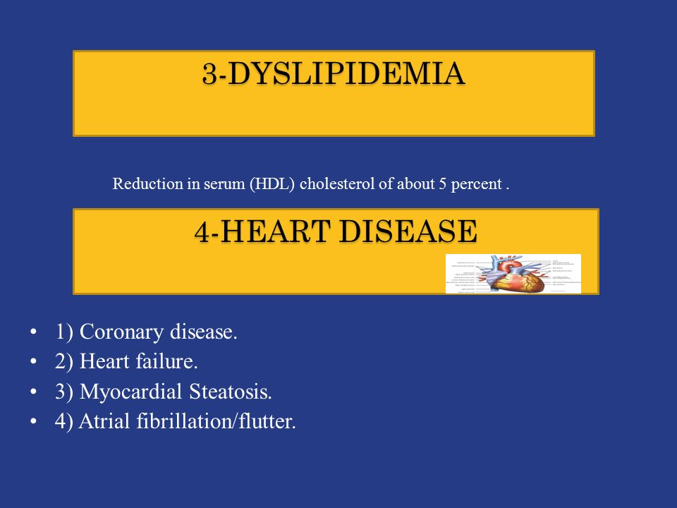 3-DYSLIPIDEMIA Reduction in serum (HDL) cholesterol of about 5 percent.