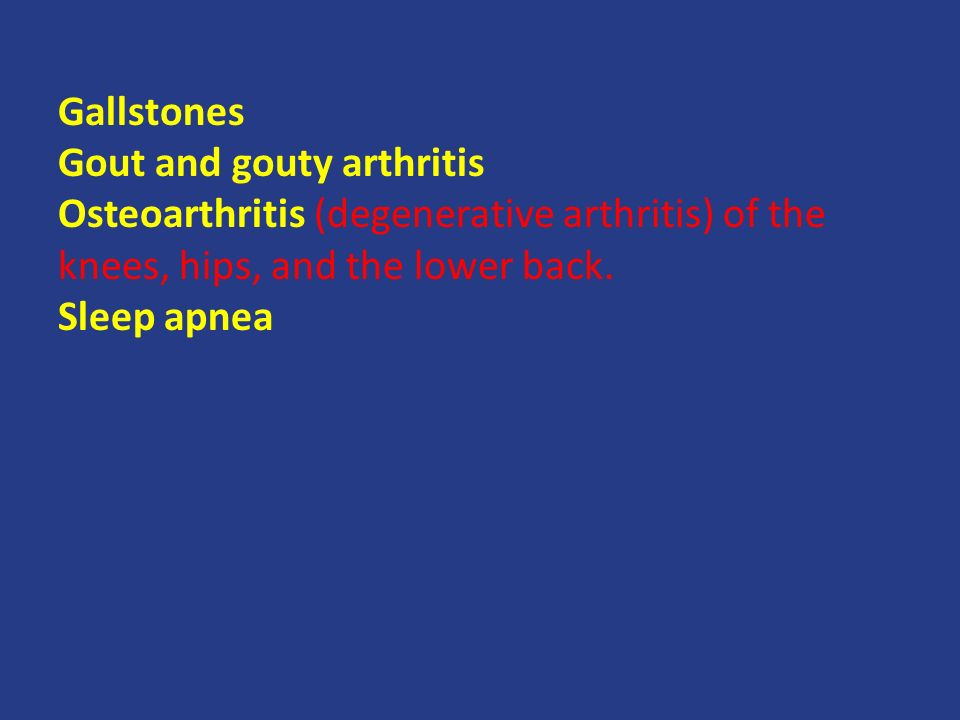 Gallstones Gout and gouty arthritis Osteoarthritis (degenerative arthritis) of the knees, hips, and the lower back.