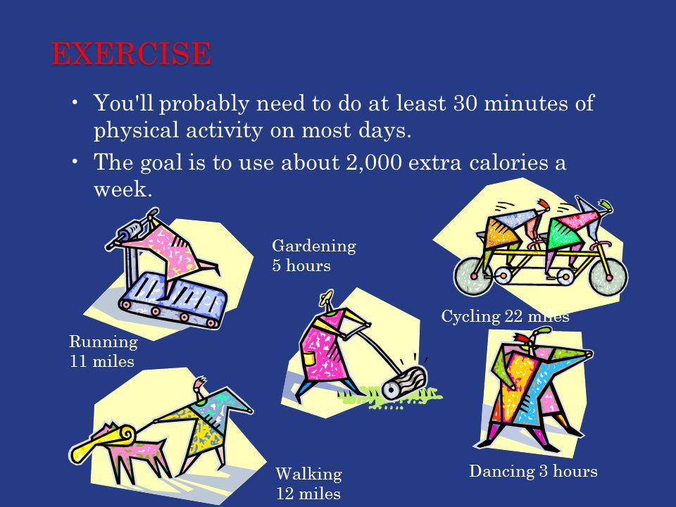 EXERCISE You ll probably need to do at least 30 minutes of physical activity on most days.