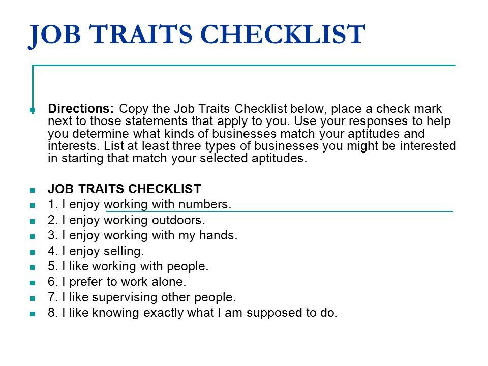 JOB TRAITS CHECKLIST Directions: Copy The Job Traits Checklist Below, Place  A Check Mark