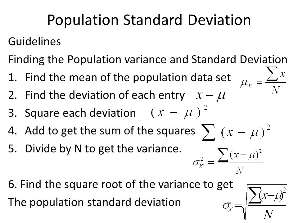 Sect24 measures of variation objective swbat find the range of population standard deviation guidelines finding the population variance and standard deviation 1nd the mean ccuart Image collections