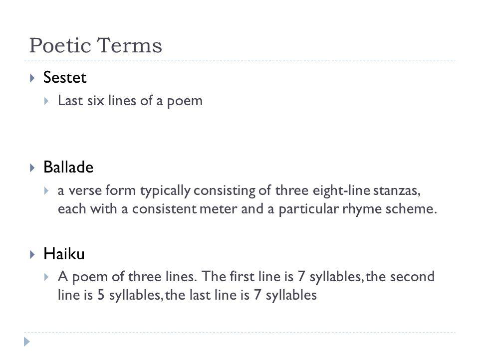 Poetic terms Poetry Unit. Poetic terms Simile – A comparison ...
