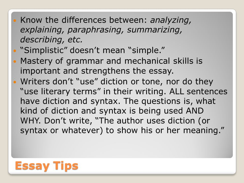 literary terms for essay writing