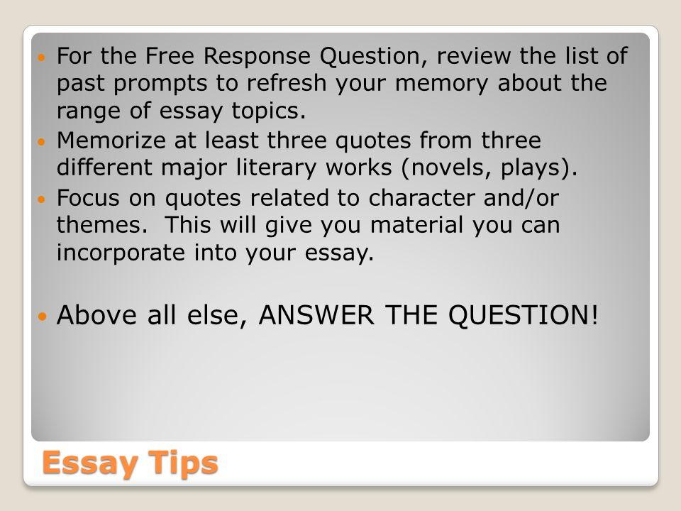 English Literature Essay Questions
