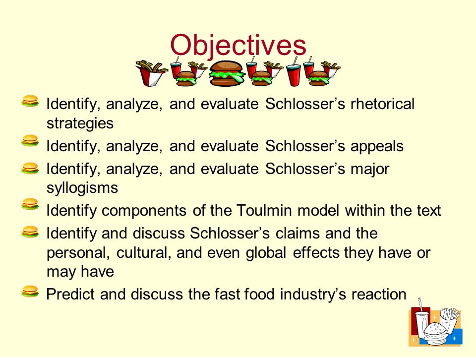 rhetorical analysis of eric schlosser Reefer madness summary eric schlosser homework help  summary does anyone have a good review of the book reefer madness by eric schlosser.