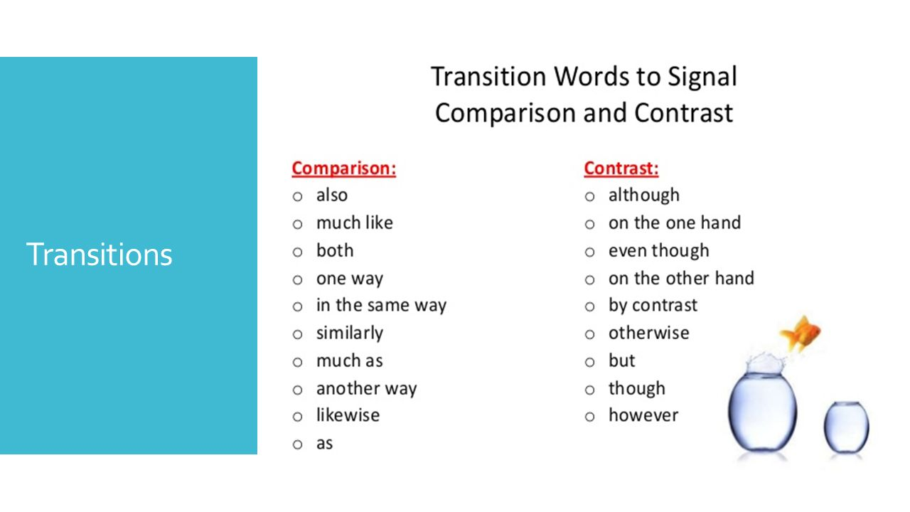 transitions for compare and contrasting essays