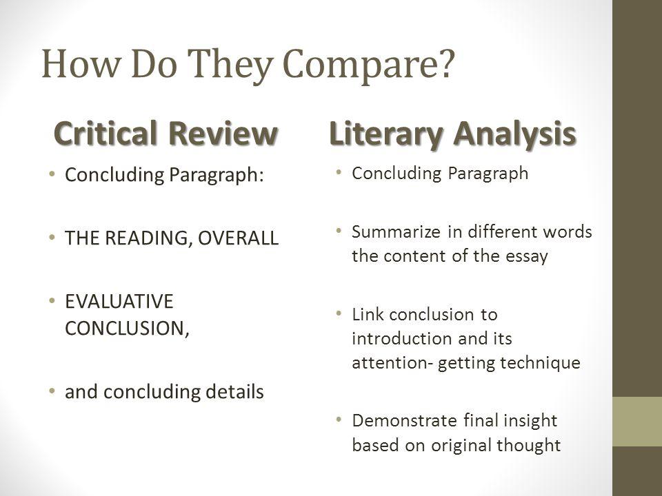 comparative + critical review essay