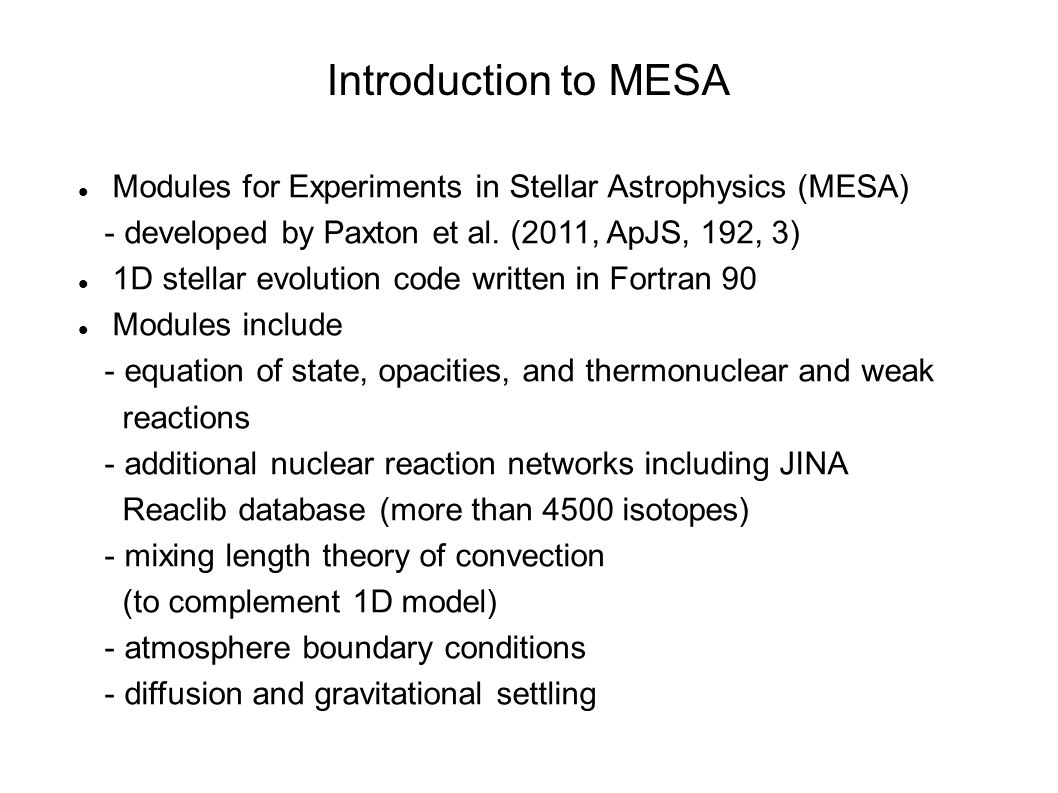 worksheet Stellar Evolution Worksheet computational nuclear astrophysics with parallel computing kyujin introduction to mesa modules for experiments in stellar developed by paxton