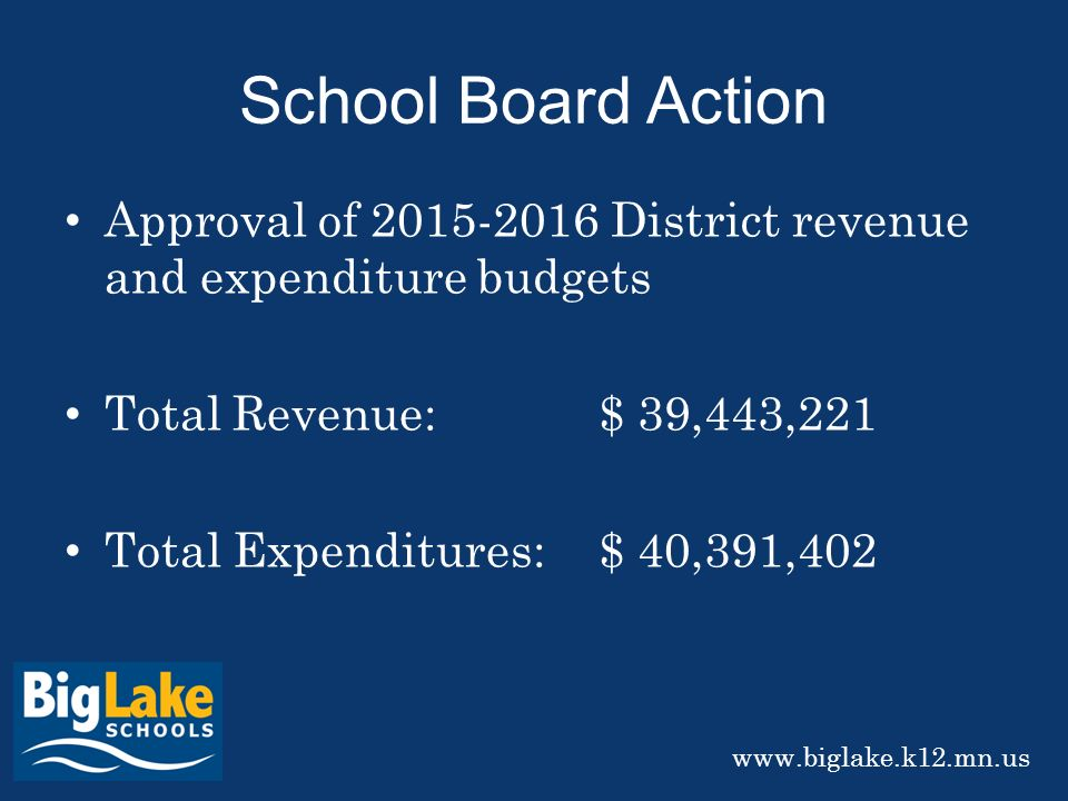 School Board Action Approval of District revenue and expenditure budgets Total Revenue:$ 39,443,221 Total Expenditures:$ 40,391,402