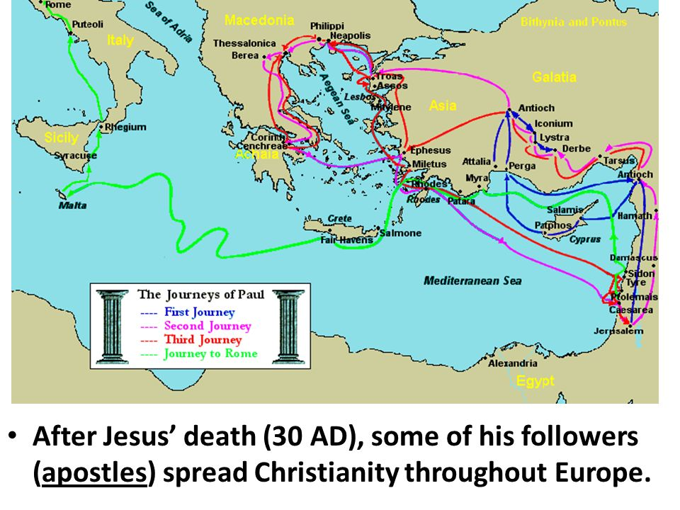 After Jesus' death (30 AD), some of his followers (apostles) spread Christianity throughout Europe.