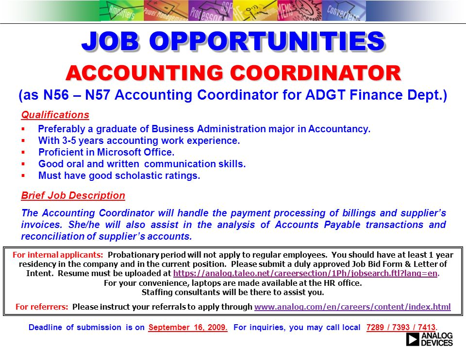 1 accounting coordinator - Job Description Of Business Administration