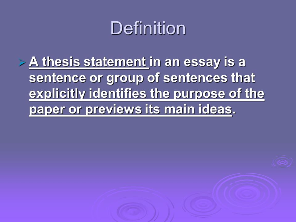 specific purpose statement vs thesis A thesis statement is focused and specific enough to be proven within the boundaries of the paper key words (nouns and verbs) should be specific, accurate, and indicative of the range of research, thrust of the argument or analysis, and the organization of supporting information.