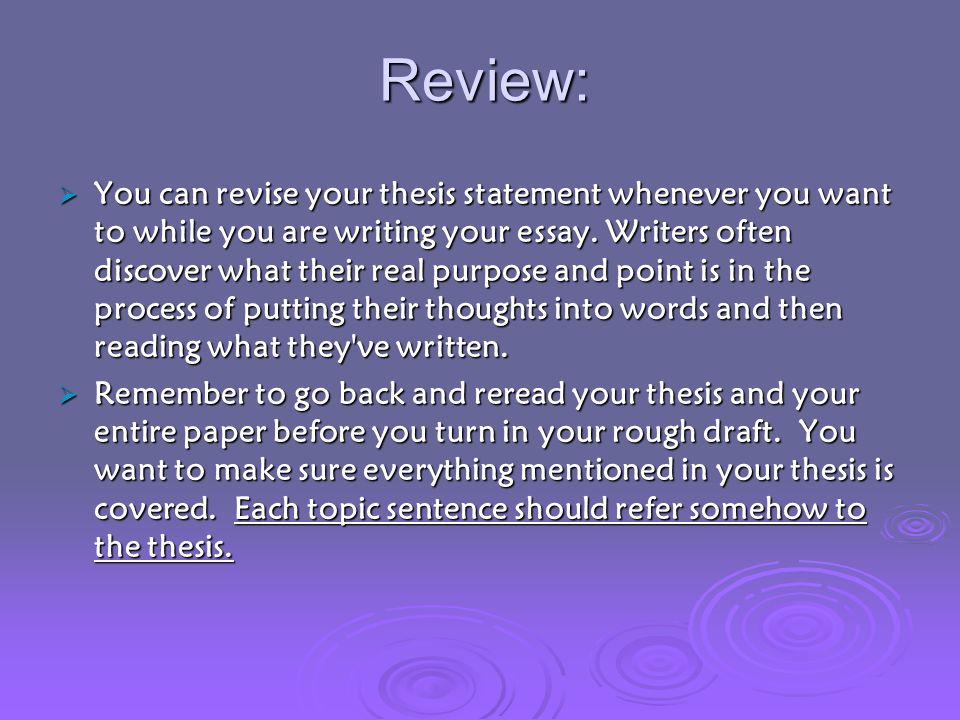 revised thesis statement Revised thesis statement by saturday, may 24, 2014, post to the discussion area a revised thesis statement and an annotated bibliography containing a minimum of four scholarly sources at this point, you have received a good deal of feedback on your topic in general and on your thesis statement specifically.