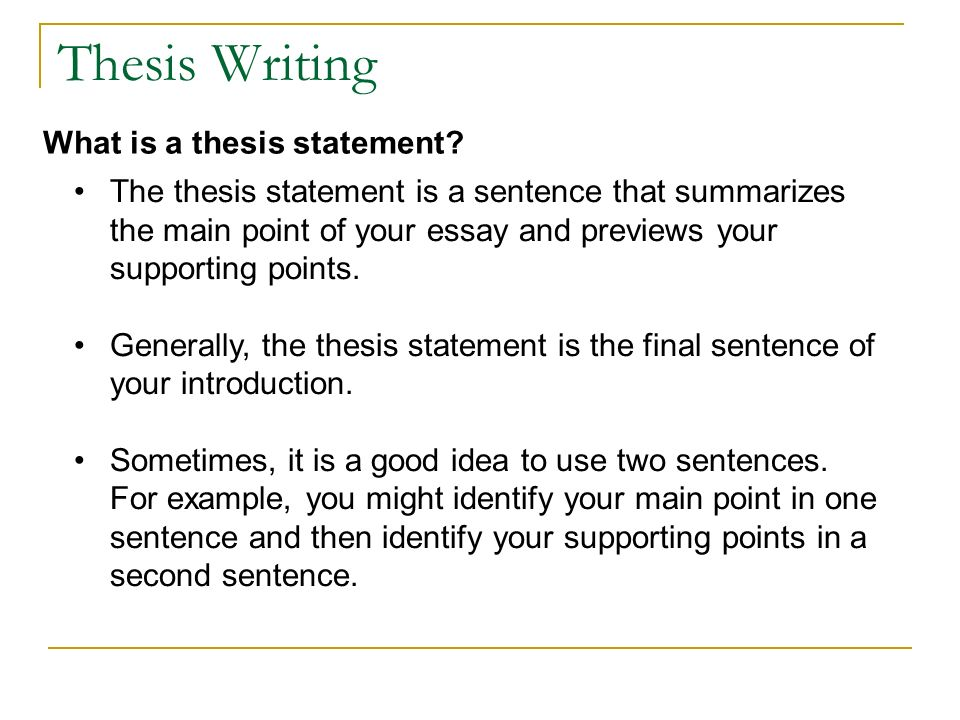Thesis Statement Sentence