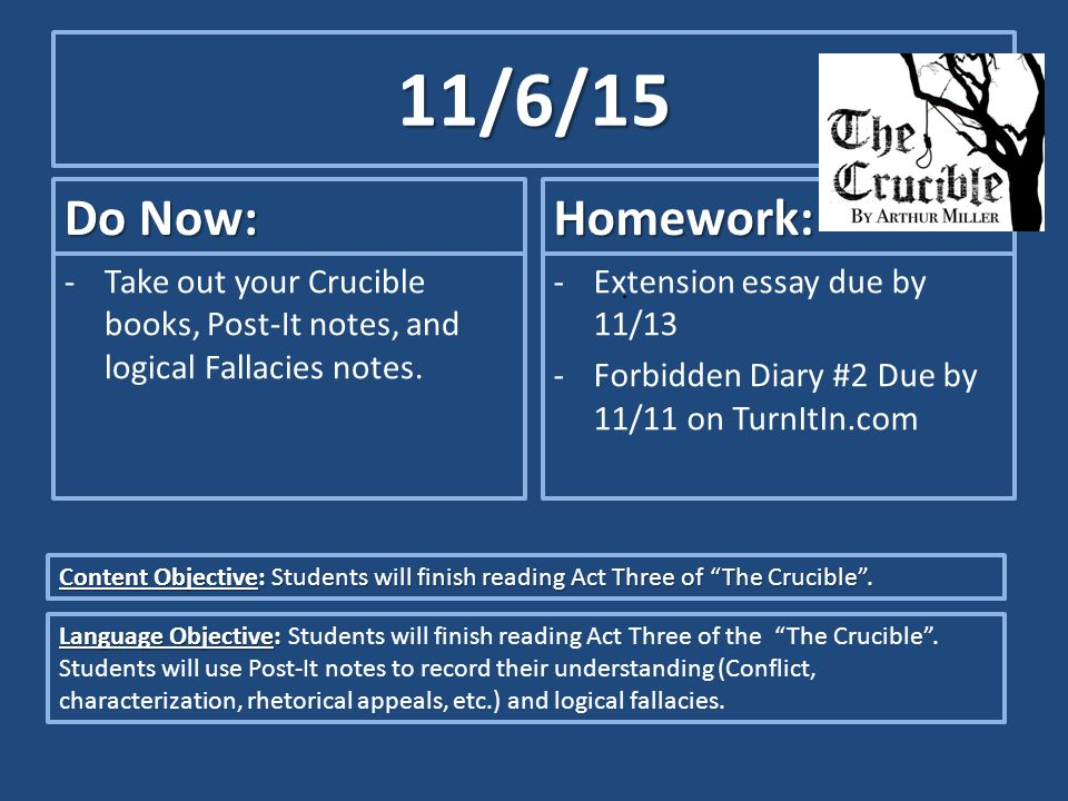 do now take out your crucible books post it notes and  1