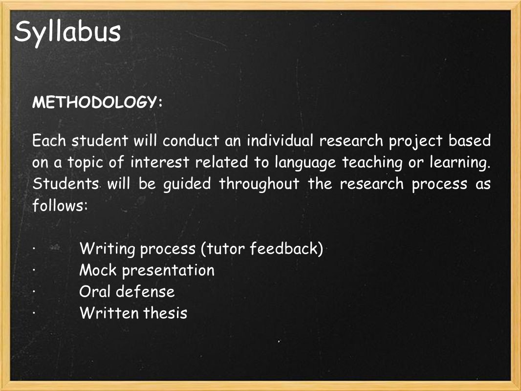 thesis writing seminar syllabus Course syllabus – ob 6301 page 1 course syllabus thesis research methods course information course basic writing skills, and how to conduct research.