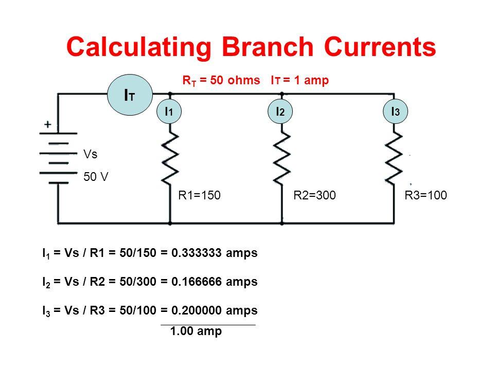 Calculating Branch Currents ITIT I1I1 I3I3 I2I2 R1=150R2=300R3=100 Vs 50 V R T = 50 ohms I T = 1 amp I 1 = Vs / R1 = 50/150 = 0.333333 amps I 2 = Vs / R2 = 50/300 = 0.166666 amps I 3 = Vs / R3 = 50/100 = 0.200000 amps 1.00 amp
