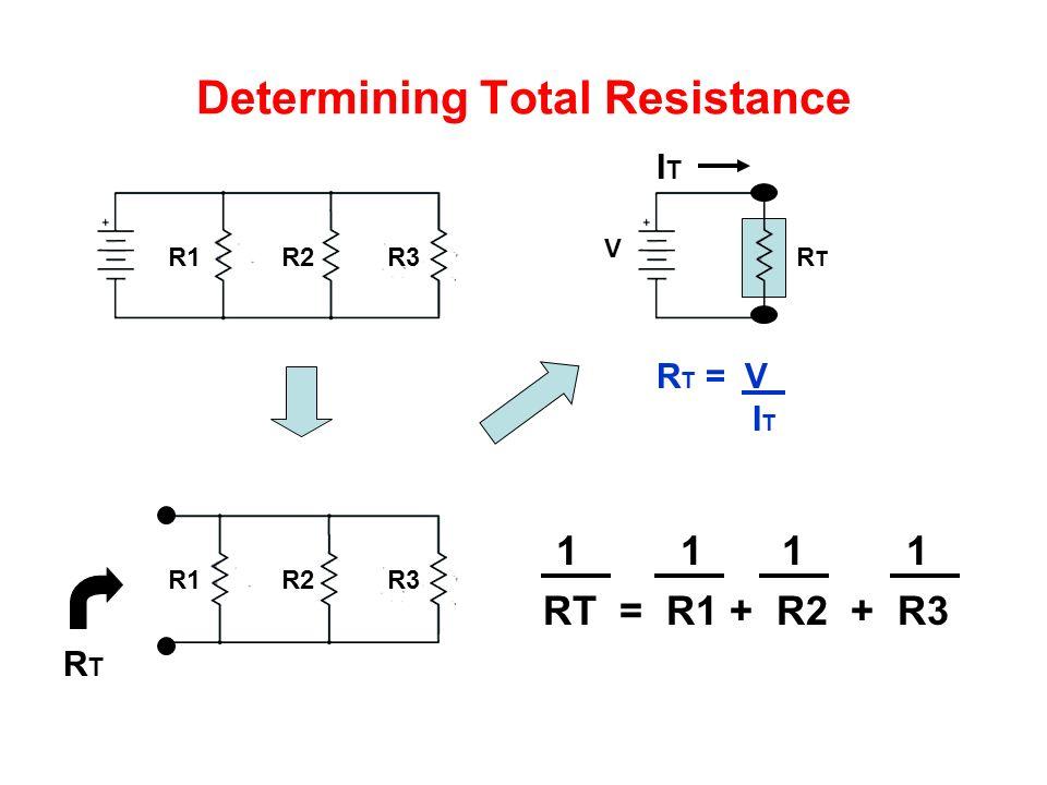 Determining Total Resistance R1 R2 R3 RTRT R T = V I T 1 1 1 1 RT = R1 + R2 + R3 RTRT V ITIT