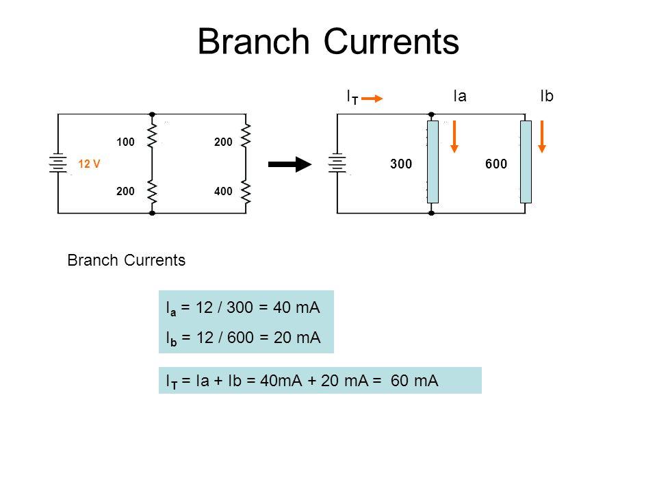 Branch Currents 300 600 100 200 200 400 12 V I T = Ia + Ib = 40mA + 20 mA = 60 mA Branch Currents I a = 12 / 300 = 40 mA I b = 12 / 600 = 20 mA I T Ia Ib