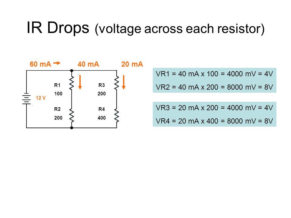 IR Drops (voltage across each resistor) R1 R3 100 200 R2 R4 200 400 12 V 60 mA 40 mA 20 mA VR1 = 40 mA x 100 = 4000 mV = 4V VR2 = 40 mA x 200 = 8000 mV = 8V VR3 = 20 mA x 200 = 4000 mV = 4V VR4 = 20 mA x 400 = 8000 mV = 8V