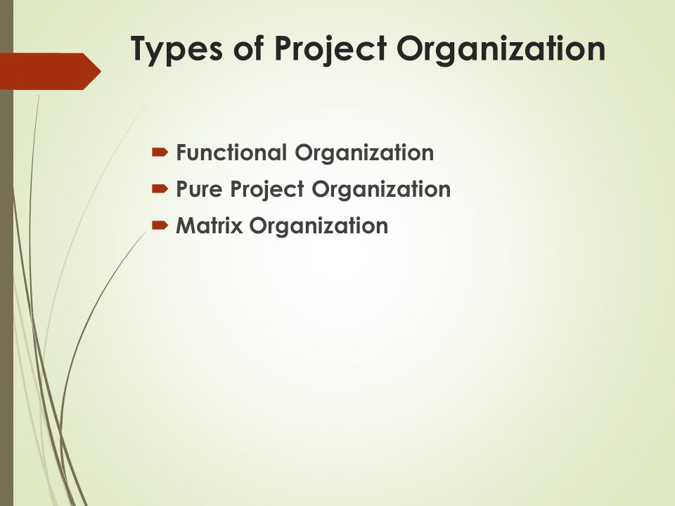 Types of Project Organization  Functional Organization  Pure Project Organization  Matrix Organization