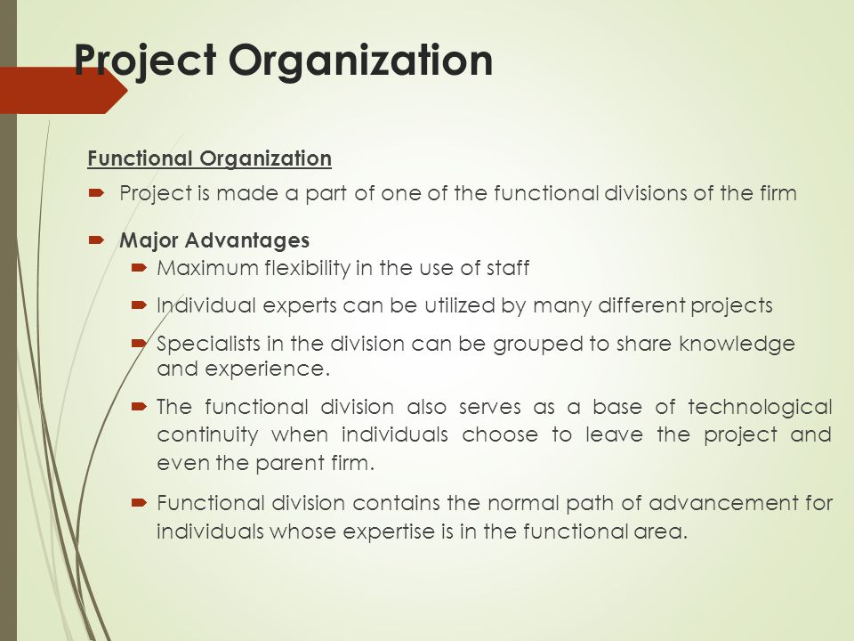 Project Organization Functional Organization  Project is made a part of one of the functional divisions of the firm  Major Advantages  Maximum flexibility in the use of staff  Individual experts can be utilized by many different projects  Specialists in the division can be grouped to share knowledge and experience.